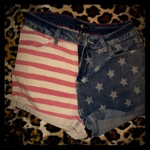 Vintage high waisted sexy American flag Xtra short